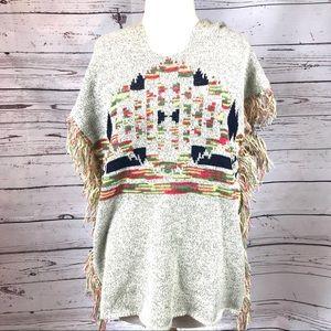 Indigo Thread Co. Sweater Poncho with Fringe